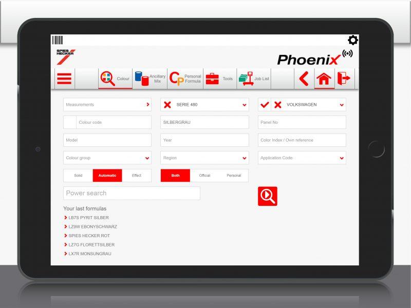 Phoenix: il software di gestione colore Spies Hecker ora disponibile come app